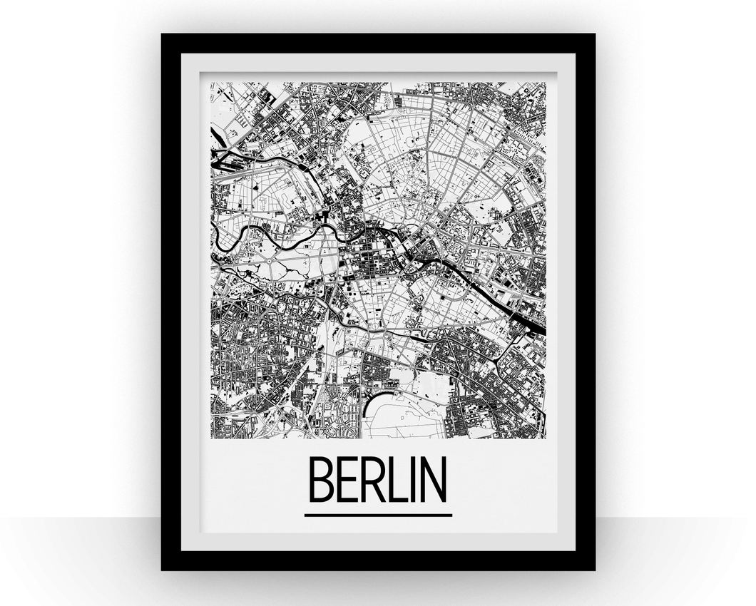 Berlin Map Poster - germany Map Print - Art Deco Series