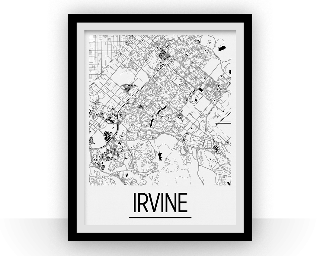 Irvine Map Poster - usa Map Print - Art Deco Series