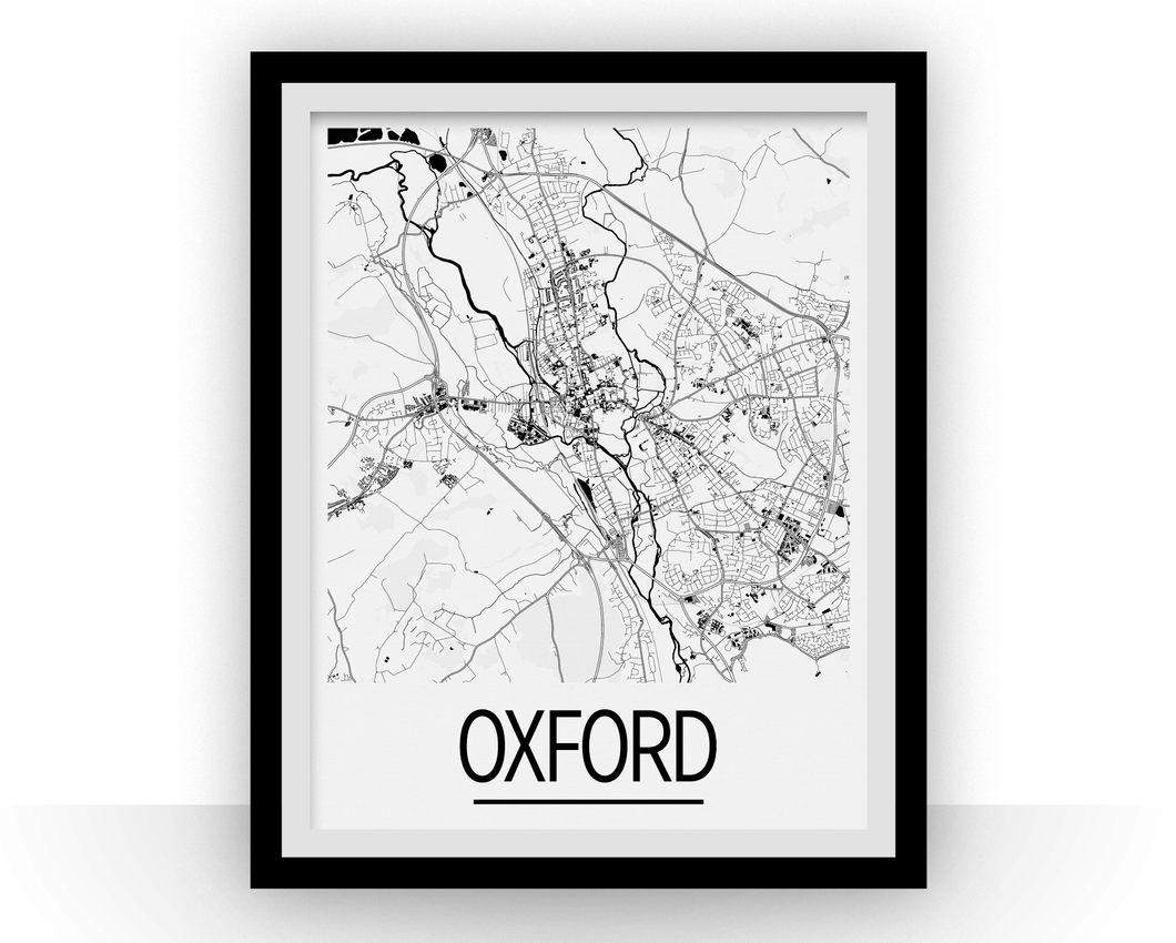 Oxford Map Poster - uk Map Print - Art Deco Series