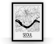 Seoul Map Poster - south korea Map Print - Art Deco Series