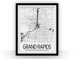 Grand Rapids Map Poster - usa Map Print - Art Deco Series