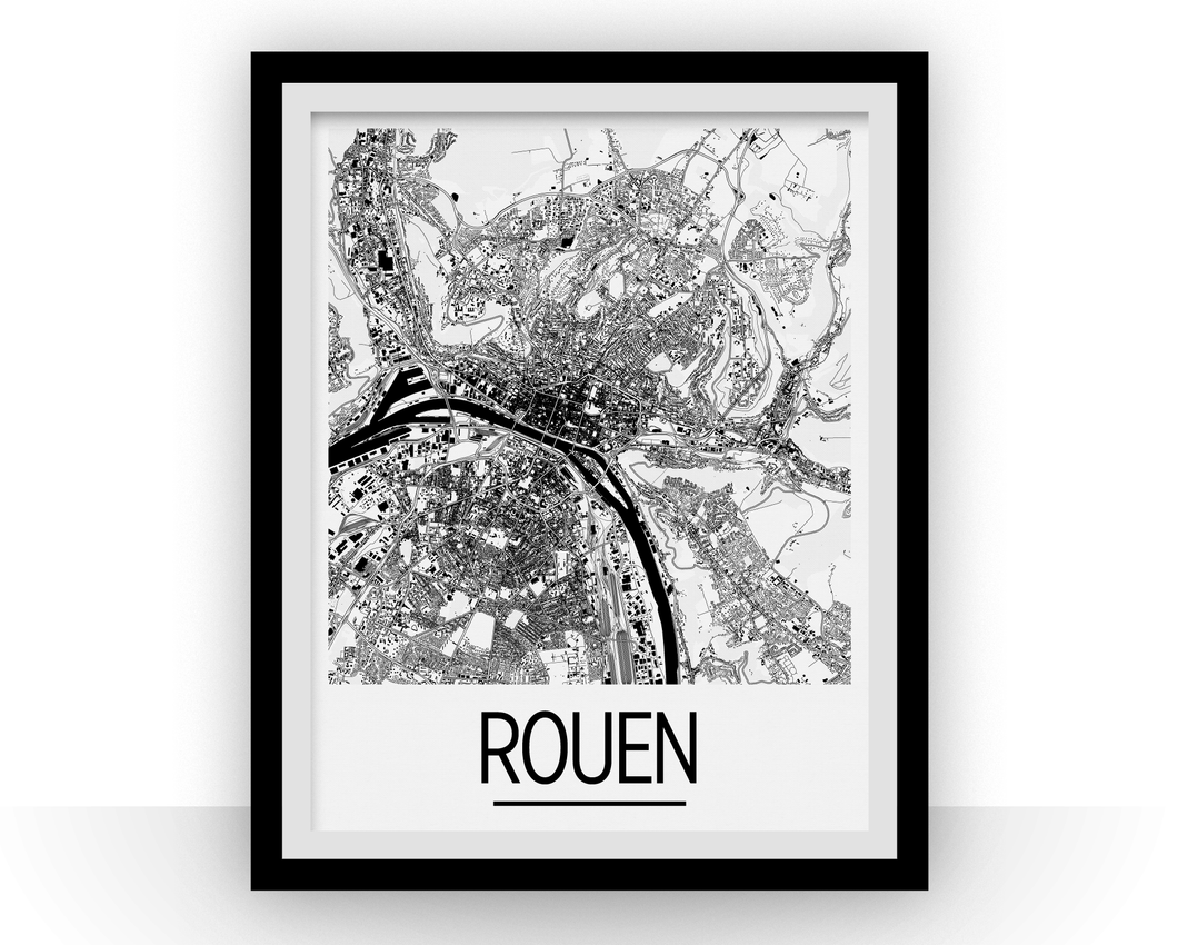 Rouen Map Poster - france Map Print - Art Deco Series