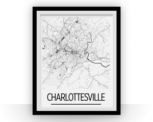 Charlottesville Map Poster - Virginia Map Print - Art Deco Series