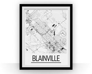 Blainville Quebec Map Poster - Quebec Map Print - Art Deco Series
