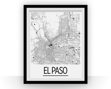 El Paso Map Poster - usa Map Print - Art Deco Series