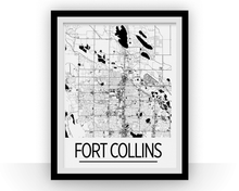 Fort Collins Map Poster - Colorado Map Print - Art Deco Series