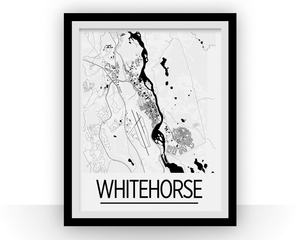 Whitehorse Map Poster - Canada Map Print - Art Deco Series