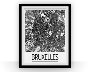Brussels Map Poster - belgium Map Print - Art Deco Series