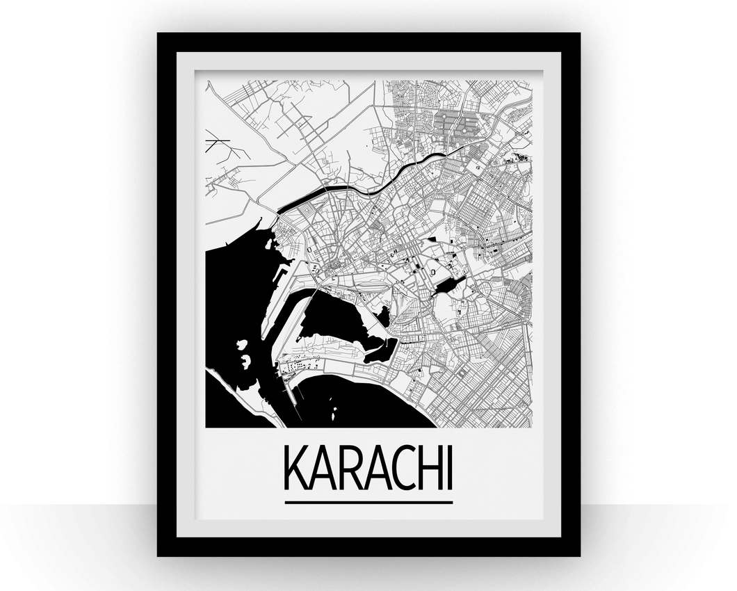 Karachi Map Poster - pakistan Map Print - Art Deco Series