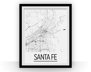 Santa Fe Map Poster - usa Map Print - Art Deco Series
