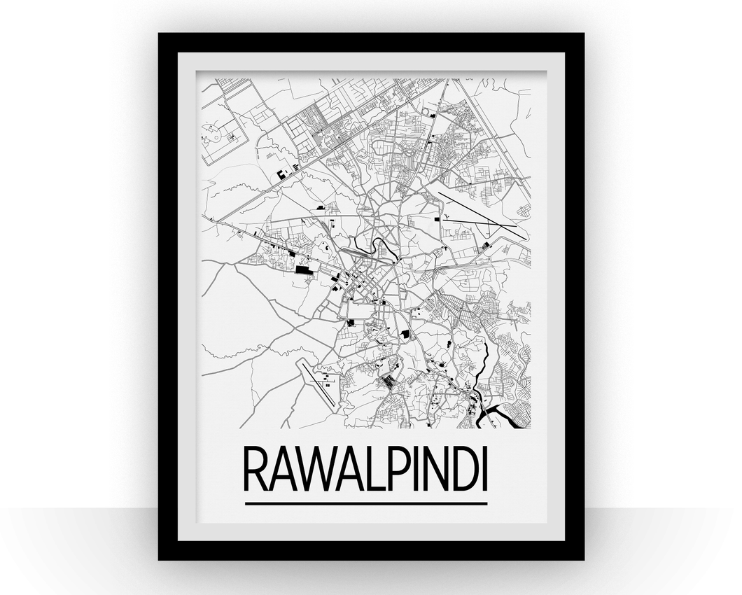 Rawalpindi Map Poster - Pakistan Map Print - Art Deco Series