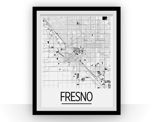 Fresno Map Poster - usa Map Print - Art Deco Series