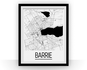 Barrie Ontario Map Poster - Ontario Map Print - Art Deco Series