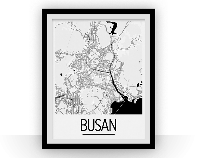 Busan Map Poster - south korea Map Print - Art Deco Series