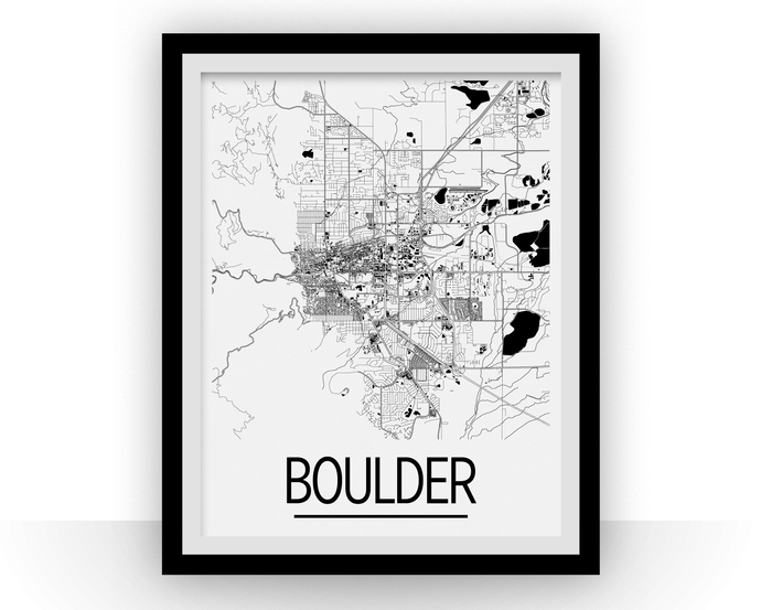 Boulder Map Poster - Colorado Map Print - Art Deco Series
