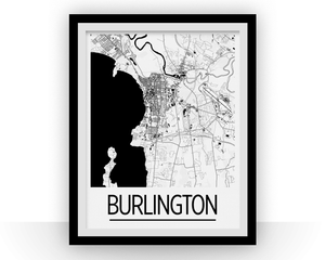 Burlington Map Poster - Vermont Map Print - Art Deco Series