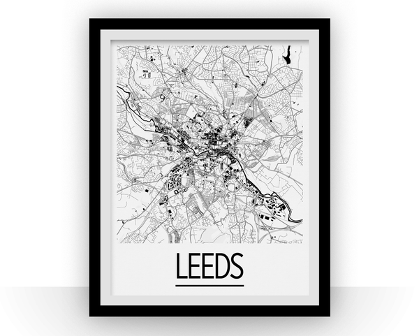 Leeds Map Poster - uk Map Print - Art Deco Series