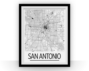 San Antonio Map Poster - usa Map Print - Art Deco Series