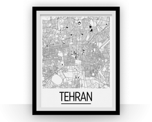 Tehran Map Poster - iran Map Print - Art Deco Series