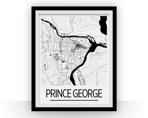Prince George BC Map Poster - British Columbia Map Print - Art Deco Series