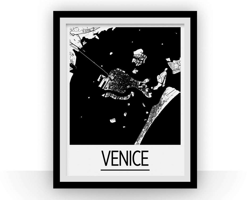 Venice Map Poster - italy Map Print - Art Deco Series