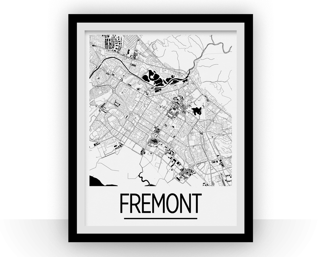 Fremont Map Poster - usa Map Print - Art Deco Series