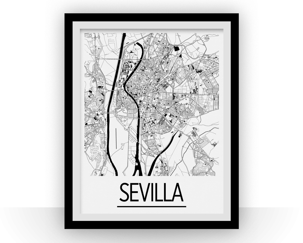 Sevilla Map Poster - spain Map Print - Art Deco Series