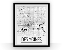 Des Moines Map Poster - Iowa Map Print - Art Deco Series