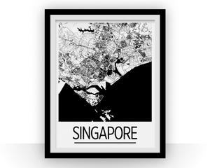 Singapore Map Poster - singapore Map Print - Art Deco Series