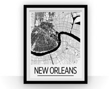 New Orleans Map Poster - usa Map Print - Art Deco Series