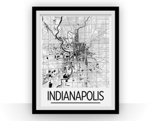 Indianapolis Map Poster - usa Map Print - Art Deco Series