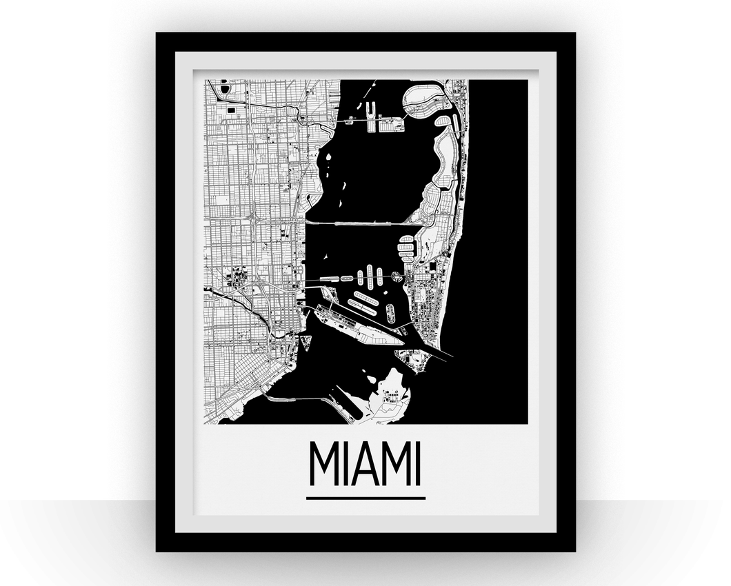 Miami Map Poster - usa Map Print - Art Deco Series