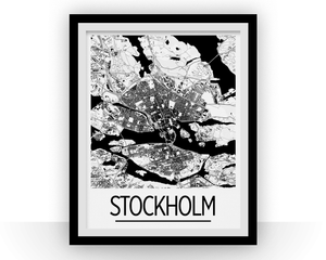 Stockholm Map Poster - sweden Map Print - Art Deco Series
