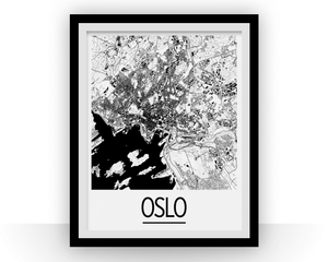 Oslo Map Poster - norway Map Print - Art Deco Series