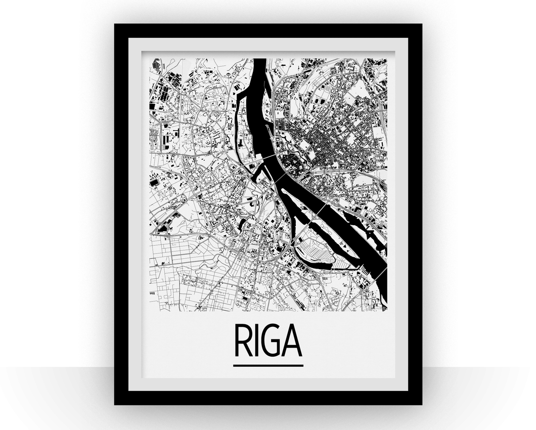 Riga Map Poster - latvia Map Print - Art Deco Series