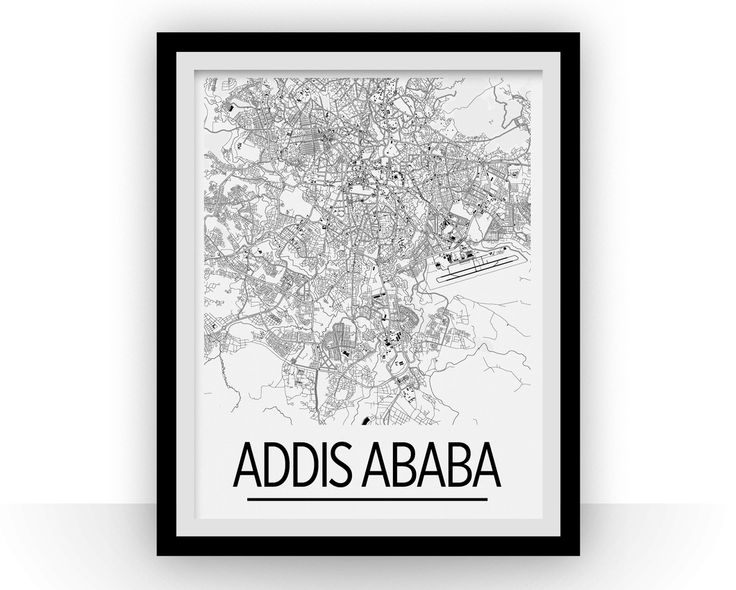 Addis Ababa Map Poster - Ethiopia Map Print - Art Deco Series
