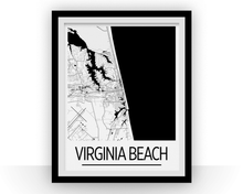 Virginia Beach Map Poster - usa Map Print - Art Deco Series