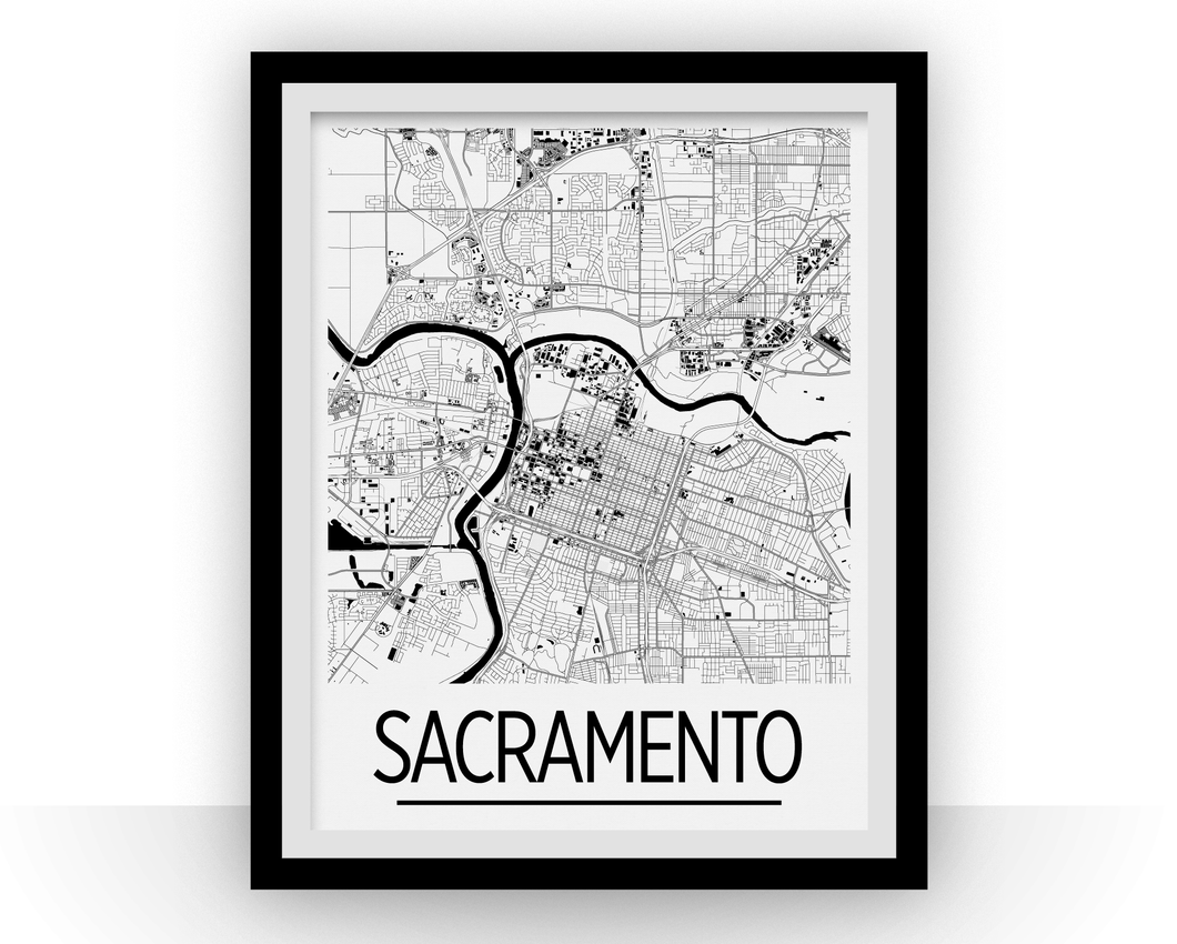 Sacramento Map Poster - usa Map Print - Art Deco Series