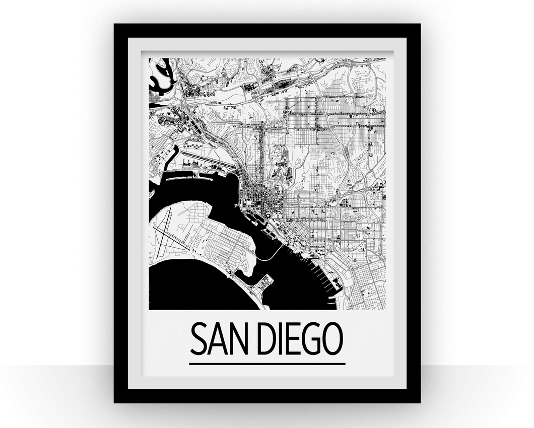 San Diego Map Poster - usa Map Print - Art Deco Series