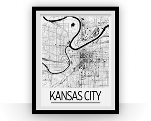 Kansas City Map Poster - usa Map Print - Art Deco Series