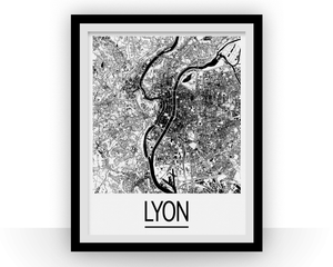 Lyon Map Poster - france Map Print - Art Deco Series