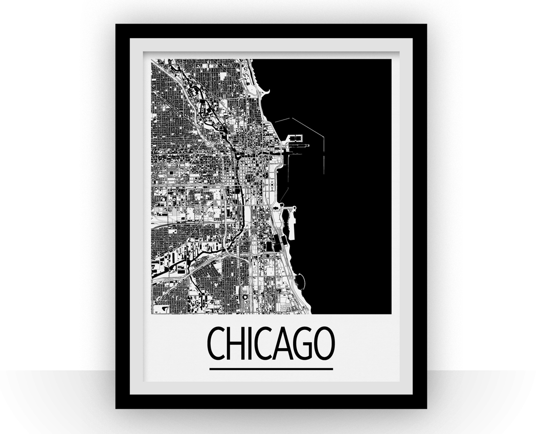 Chicago Map Poster - usa Map Print - Art Deco Series