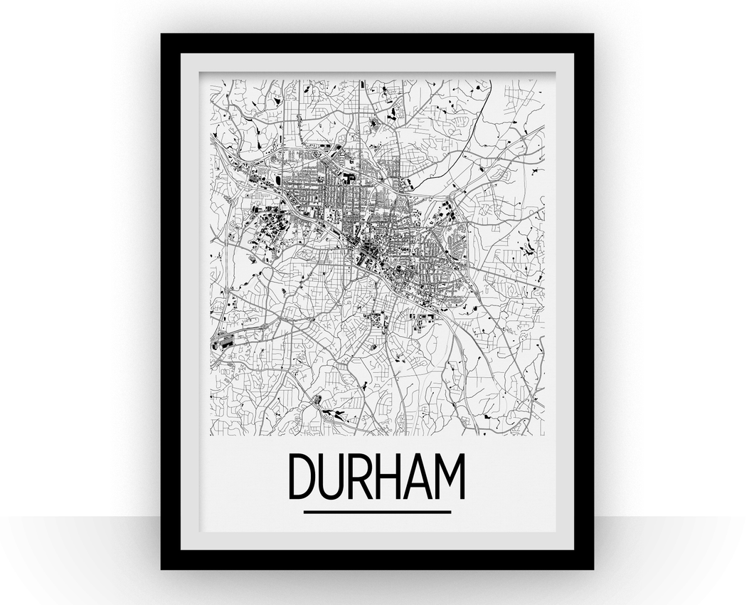 Durham Map Poster - North Carolina Map Print - Art Deco Series