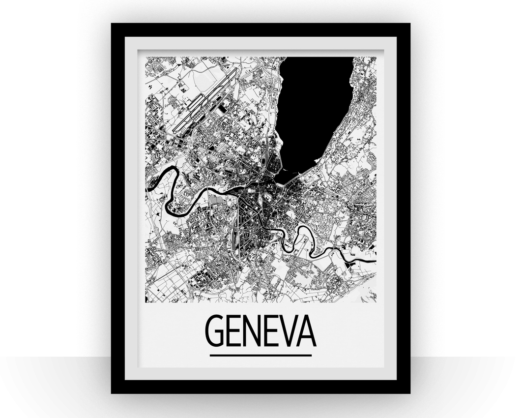 Geneva Map Poster - switzerland Map Print - Art Deco Series