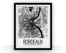 Bordeaux Map Poster - France Map Print - Art Deco Series