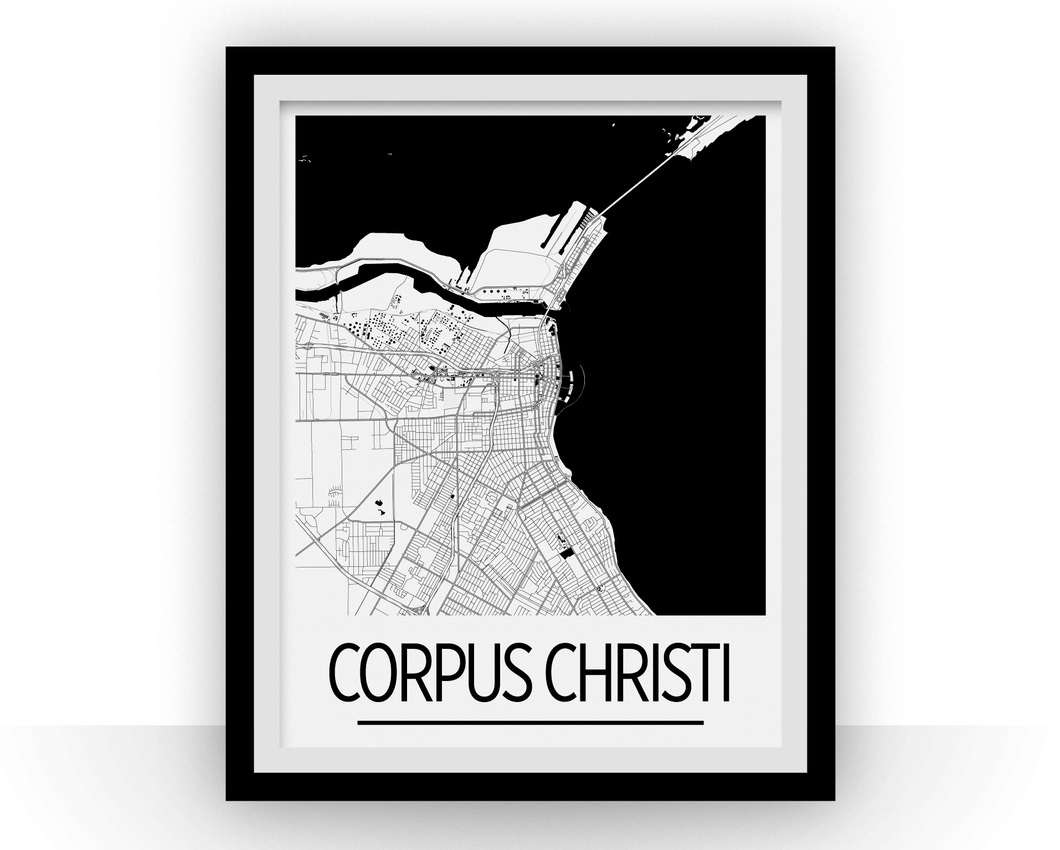 Corpus Christi Map Poster - usa Map Print - Art Deco Series