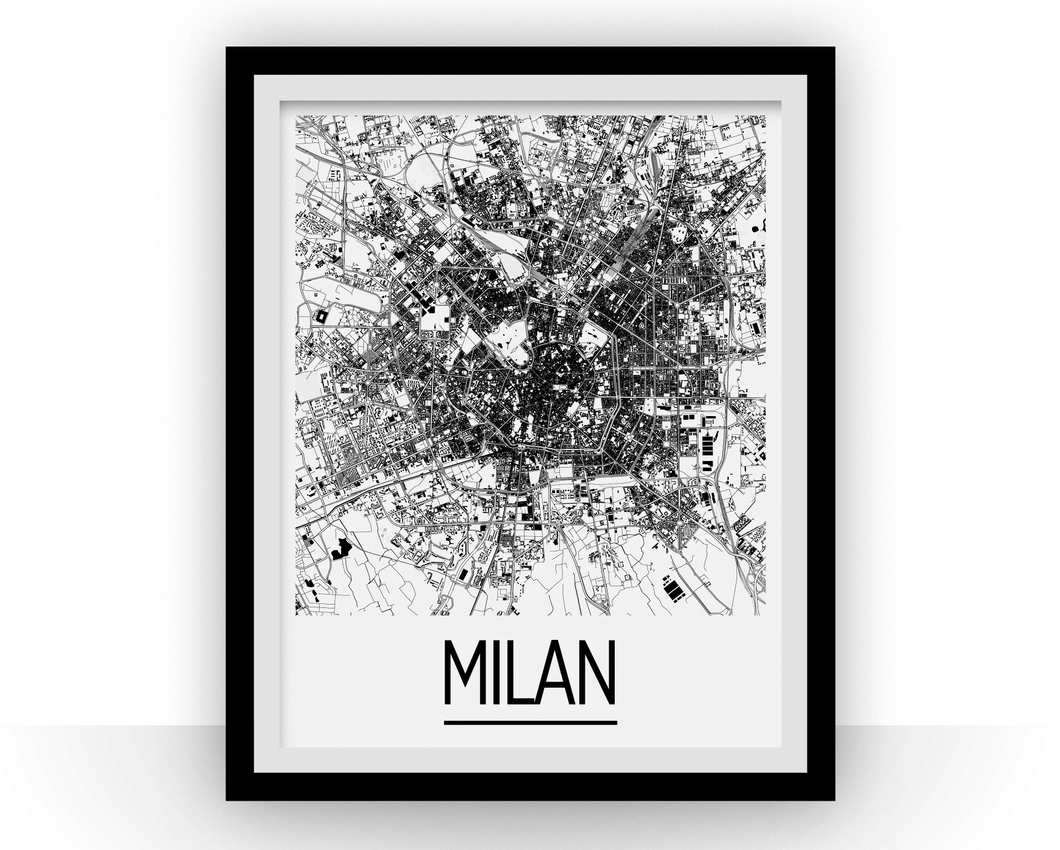 Milan Map Poster - italy Map Print - Art Deco Series