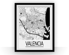 Valencia Map Poster - spain Map Print - Art Deco Series