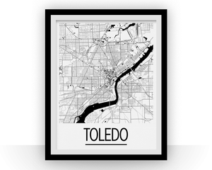 Toledo Map Poster - usa Map Print - Art Deco Series