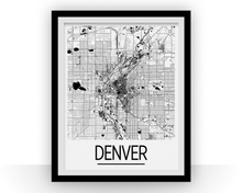 Denver Map Poster - usa Map Print - Art Deco Series